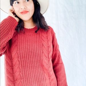 Crew Neck Pullover Knit Sweater